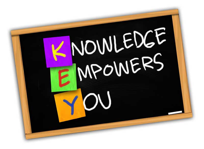 Chalkboard reading K E Y Knowledge Empowers You
